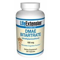Life Extension DMAE Bitartrate (dimethylaminoethanol) 150mg 200 Caps