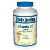Life Extension Vitamin D3 with Sea-Iodine 5,000 IU 60 Caps