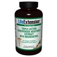 Life Extension Triple Action Cruciferous Vegetable Extract with Resveratrol 60 Vegecaps