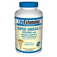 Life Extension Super Omega-3 EPA/DHA with Sesame Lignans and Olive Fruit Extract 120 Softgels