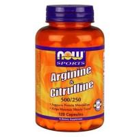Now Foods Arginine 500 Mg Citrulline 250 Mg 120 Capsules