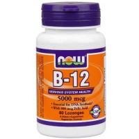 Now Foods B-12 5000 Mcg + Folic 60 Tablets