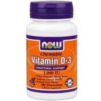 Now Foods Vit D-3 1000 IU Fruity Chew 180 Lozenges