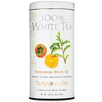 The Republic of Tea Persimmon 100% White Tea 50 Natural Unbleached Tea Bags