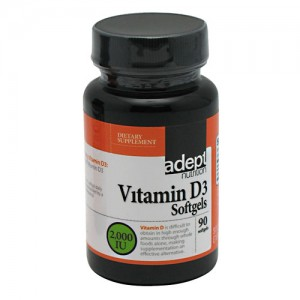 Adept Nutrition Vitamin D3 2,000 IU  90 Softgels