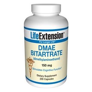 Life Extension DMAE Bitartrate (dimethylaminoethanol) 150mg 200 Caps