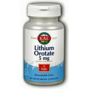 Kal Lithium Orotate 5mg 60 Vege Caps