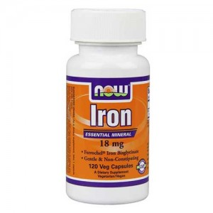 Now Foods Iron 18 Mg Ferrochel(R) 120 Vegetable Capsules